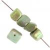 Shell Beads Dice 6mm Green Aurora Borealis